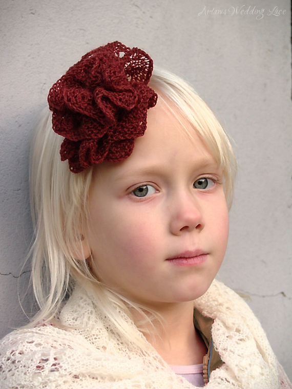 hair accessory - big red flower1.5 - Artanis Wedding Lace
