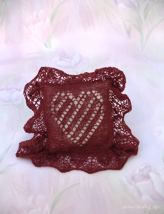bridal ring bearer pillow_artanis wedding lace_dark red_heart pattern