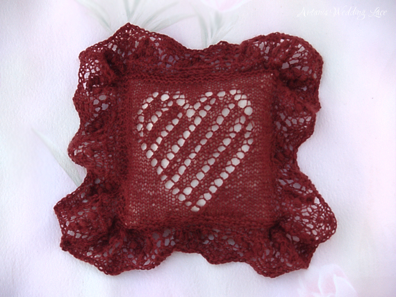 lace ring bearer pillow_artanis wedding lace_dark red_heart pattern