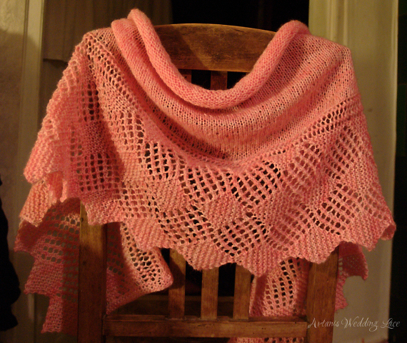 pink rosewood lace scarf by Artanis Wedding Lace