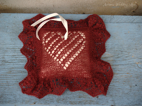 ring bearer pillow_artanis wedding lace_dark red_heart pattern