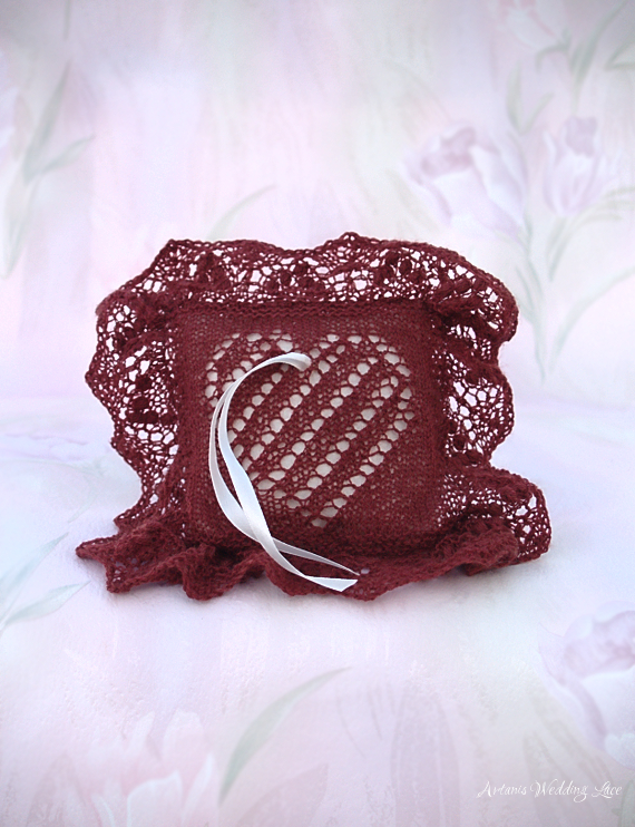 wedding ring bearer pillow_artanis wedding lace_brownish red_heart pattern