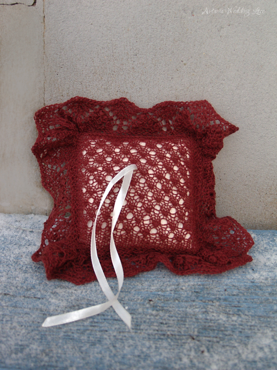 dark red bridal lace ring bearer pillow with small pattern and white pillow by Artanis Wedding Lace