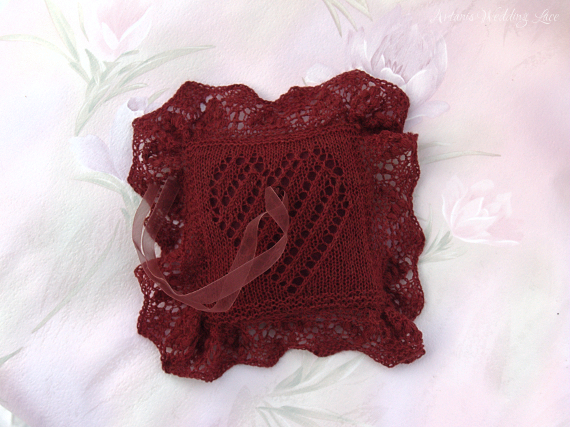 dark red lace heart pattern wedding ring bearer pillow by Artanis Wedding Lace