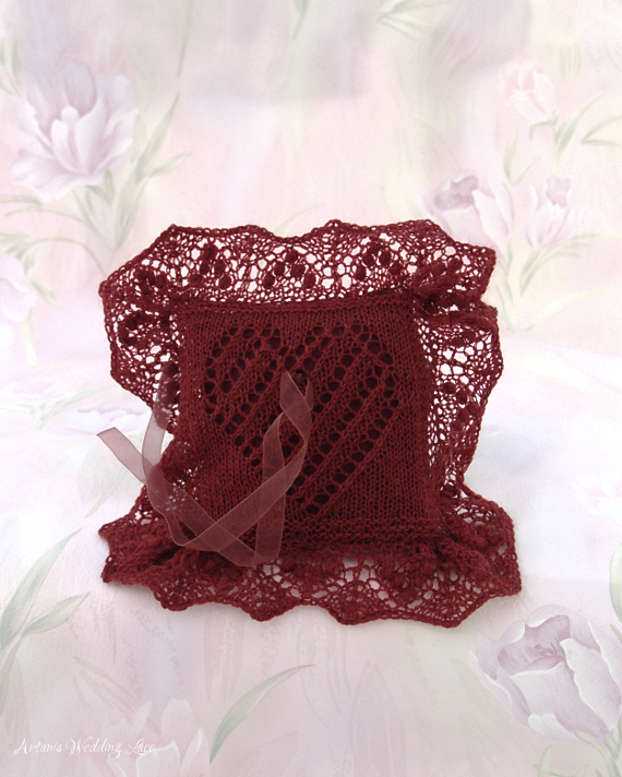 dark red ring bearer pillow with red pillow with heart pattern by Artanis wedding Lace