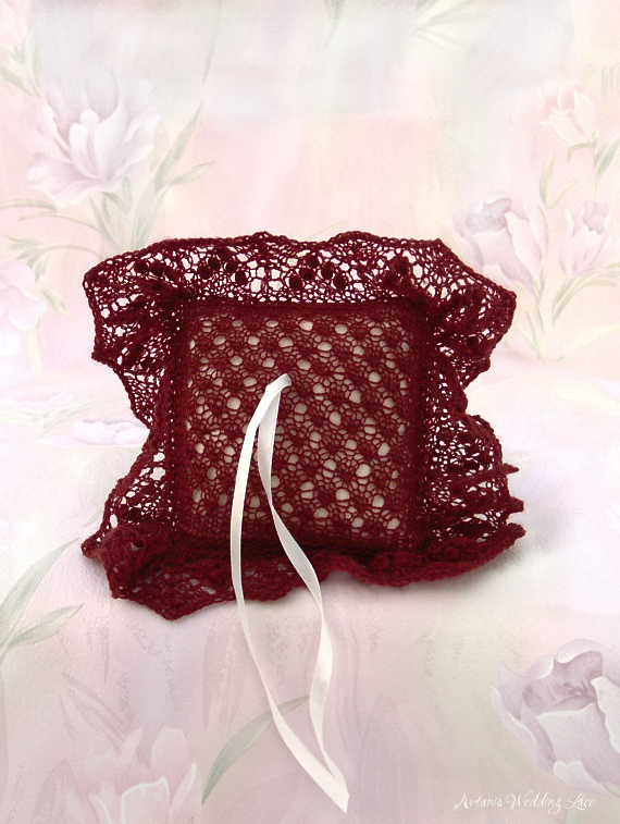 dark red wedding lace ring bearer pillow with small pattern and white pillow by Artanis Wedding Lace