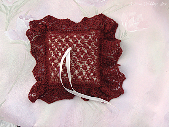 dark red wedding lace ring bearer pillow with small pattern, white pillow and nupps in edge by Artanis Wedding Lace