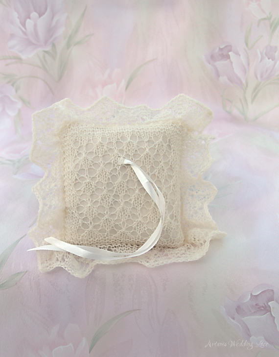 lace ring bearer pillow, natural white ring bearer pillow, bridal accessory by Artanis wedding Lace