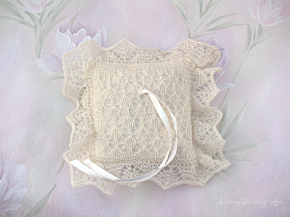 lace ring bearer pillow, natural white ring pillow, bridal accessory by Artanis wedding Lace