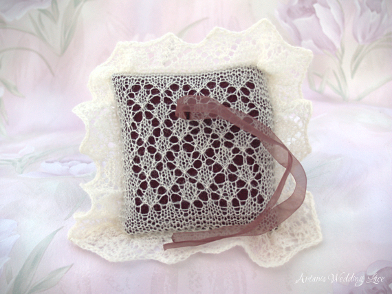 lace wedding ring bearer pillow natural white paw pattern by Artanis Wedding Lace