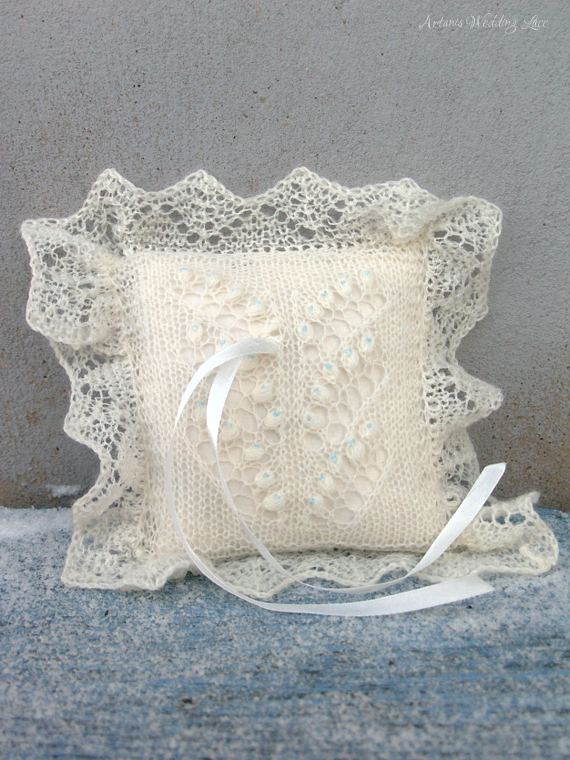 lily of the valley lace ring bearer pillow with blue beads by Artanis Wedding Lace
