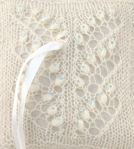 lily of the valley pattern knitted lace ring bearer pillow with blue beads by Artanis Wedding Lace