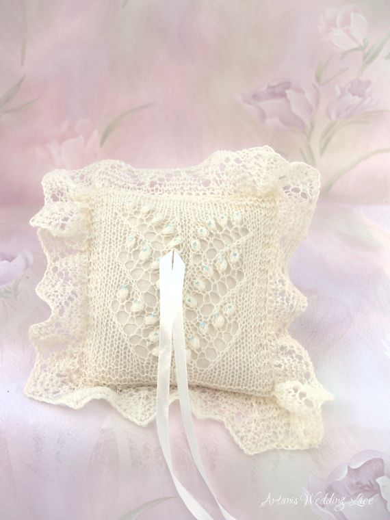 lily of the valley ring bearer pillow with blue beads by Artanis Wedding Lace