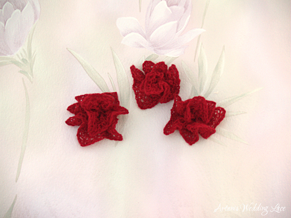 small red bridal hair flower wedding hair accessory  for flower girls by Artanis Wedding Lace