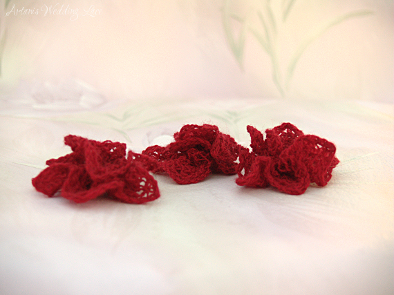 small red wedding lace hair flower for bridesmaids or flower girls by Artanis Wedding Lace