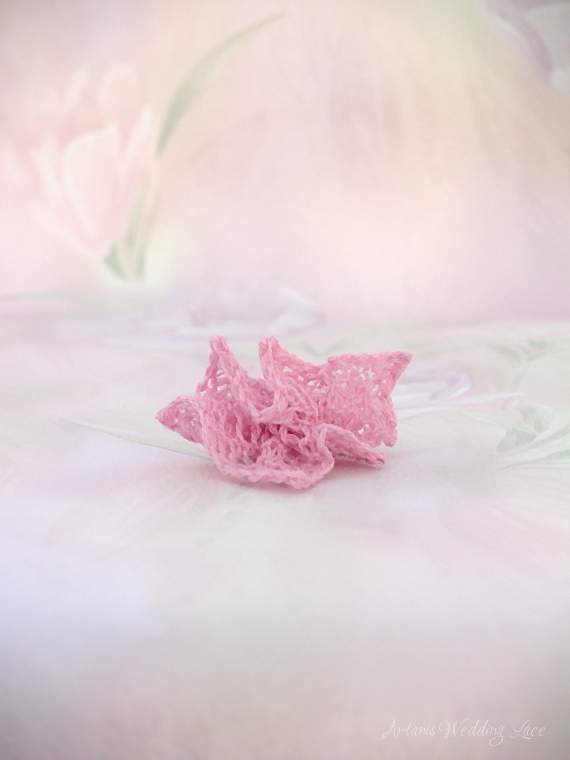 three small pink hair flowers by Artanis Wedding Lace