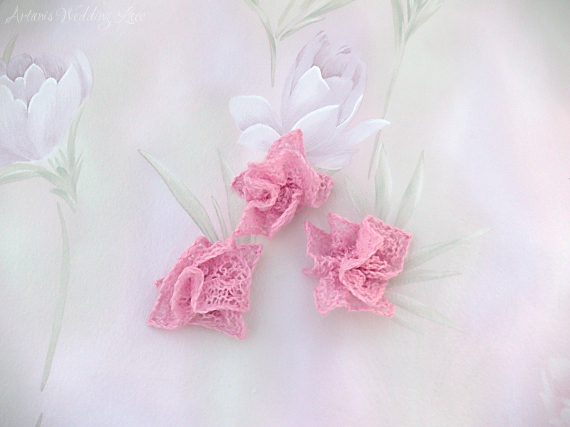 three small pink wedding hair flowers by Artanis Wedding Lace