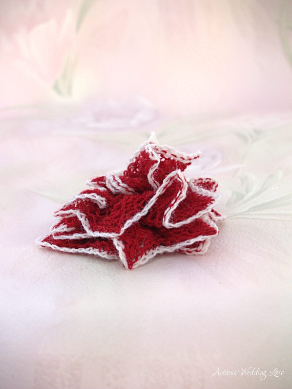 red bridal hair flower with white edge, wedding accessory, bridesmaid accessory