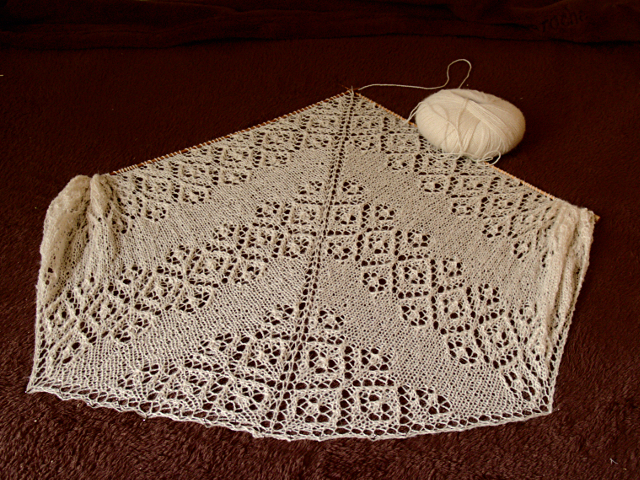 Secret knitting white Lamana Piura baby alpaca lace scarf vol2