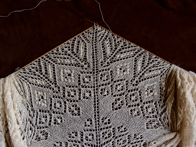 Secret knitting white Lamana Piura baby alpaca lace scarf vol4