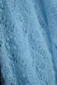 Light Blue Flower Field Bridal Scarf by Artanis Wedding Lace