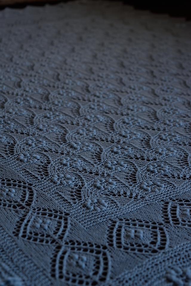 Light Blue Flower Field Bridal Scarf by Artanis Wedding Lace