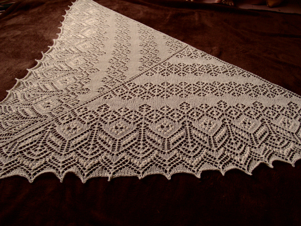 Secret knitting white Lamana Piura baby alpaca lace scarf vol5