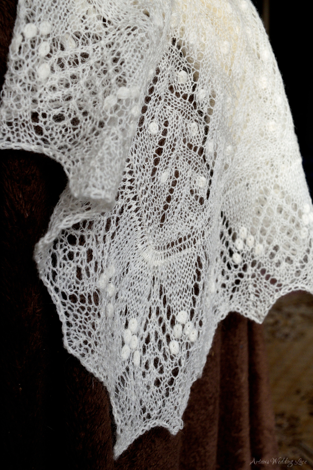 cover-up for wedding, knit natural white lace shawl by Artanis Wedding Lace