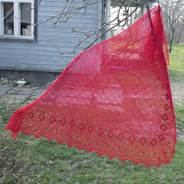 Red Warm Shawl from Alpaca Yarn
