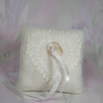 White ring bearer pillow with heart pattern by Artanis Wedding Lace